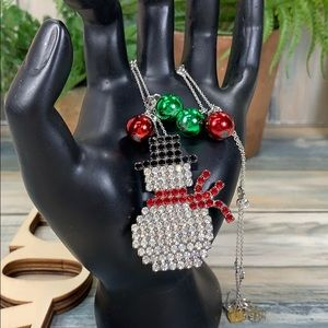 ✨Adorned Crown let it snow man rhinestone necklace